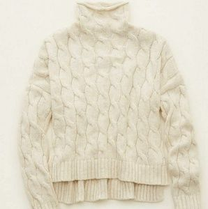 AE Aerie Ivory White cable knit turtleneck sweater